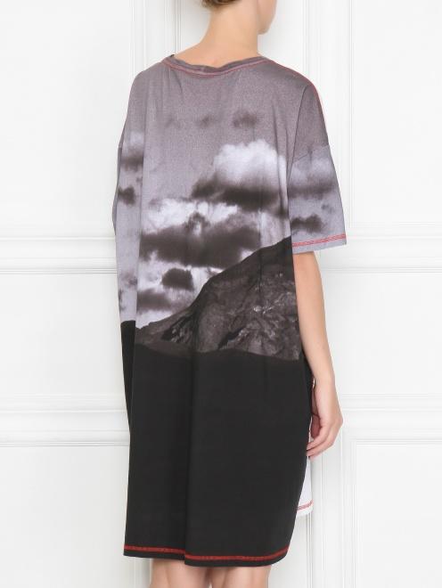 Платье из хлопка свободного кроя с узором - МодельВерхНиз1