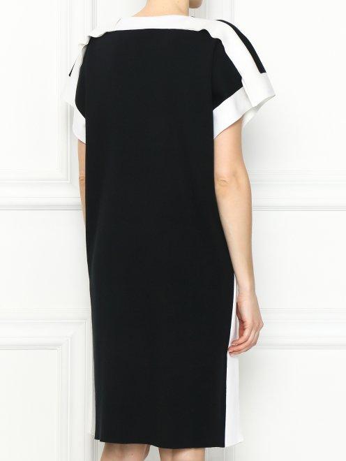 Платье из хлопка и шелка с контрастной отделкой - МодельВерхНиз1