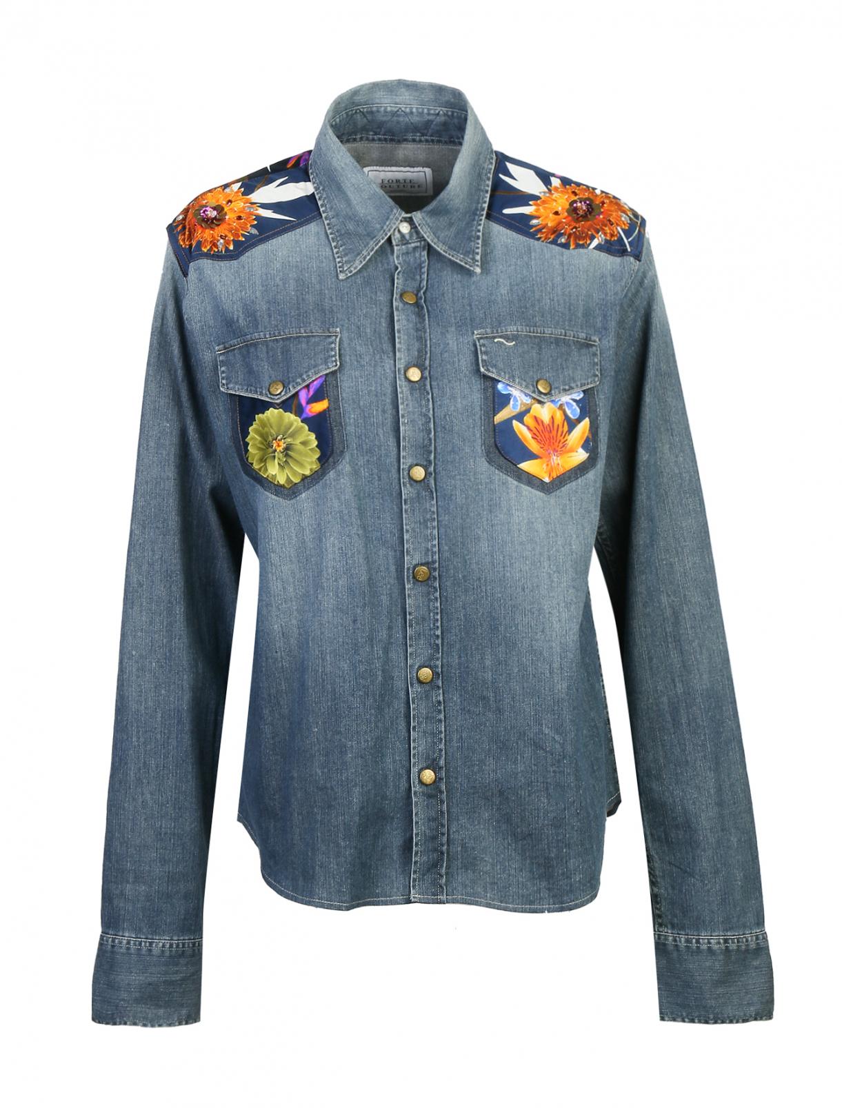 Рубашка из денима с аппликацией FORTE COUTURE  –  Общий вид  – Цвет:  Синий