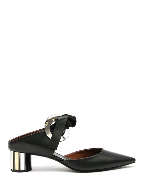 Мули на зеркальном каблуке с металлическим декором - Общий вид