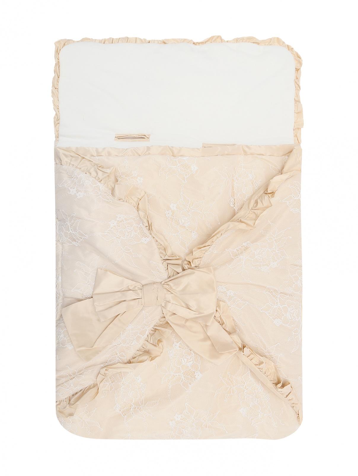 Конверт из хлопка украшенный кружевом и рюшами Aletta  –  Общий вид  – Цвет:  Бежевый