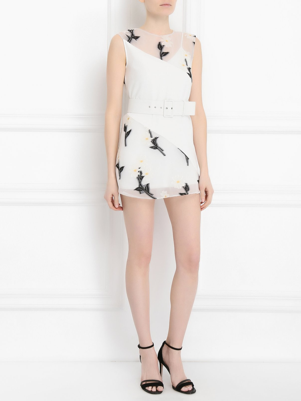 Платье с прозрачными вставками и цветочной вышивкой Sportmax  –  Модель Общий вид