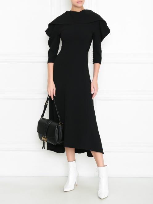 Платье макси с металлическими пуговицами и ассиметричным воротником  - Общий вид