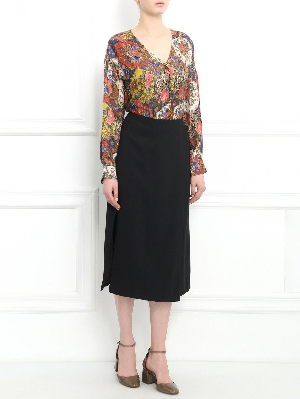 Блуза из шелка с узором Alberto Biani  –  Модель Общий вид  – Цвет:  Мультиколор