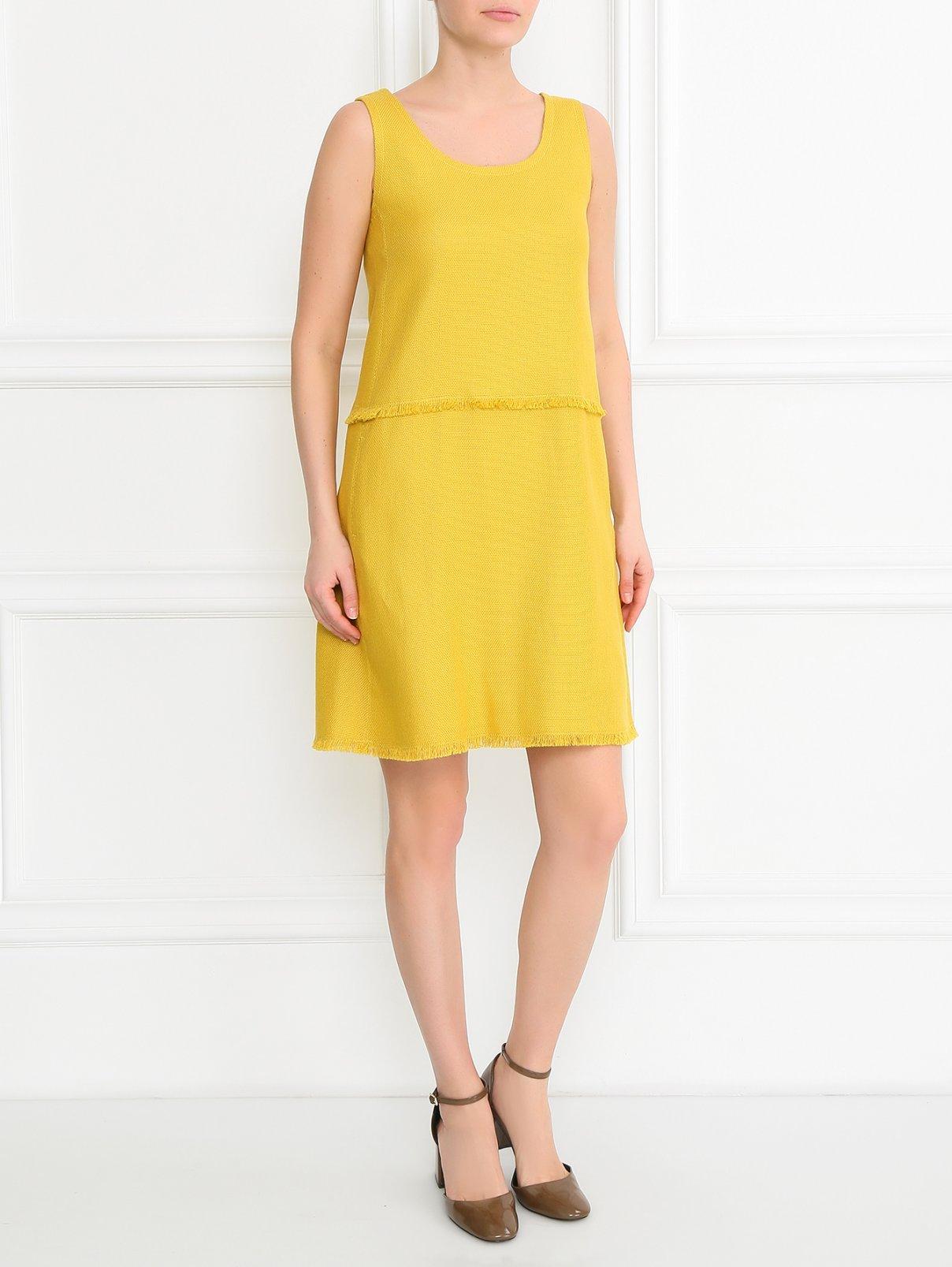 Платье-трапеция из льна и хлопка с бахромой S Max Mara  –  Модель Общий вид