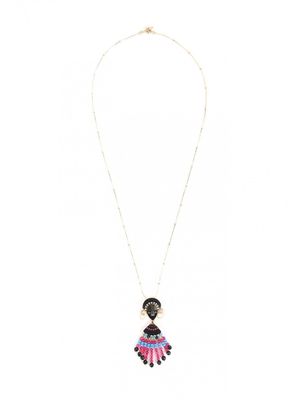 Ожерелье из металла и кристаллов Etro  –  Общий вид  – Цвет:  Фиолетовый