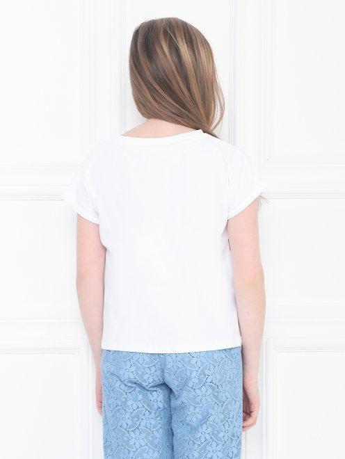 Хлопковая футболка с принтом - МодельВерхНиз1