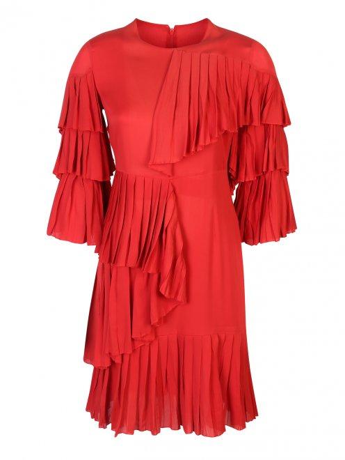 Платье шелковое, с воланами - Общий вид