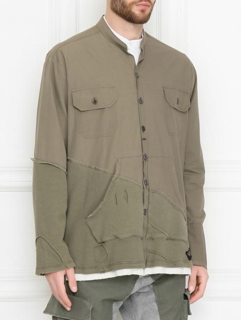 Комбинированная куртка из хлопка - МодельВерхНиз