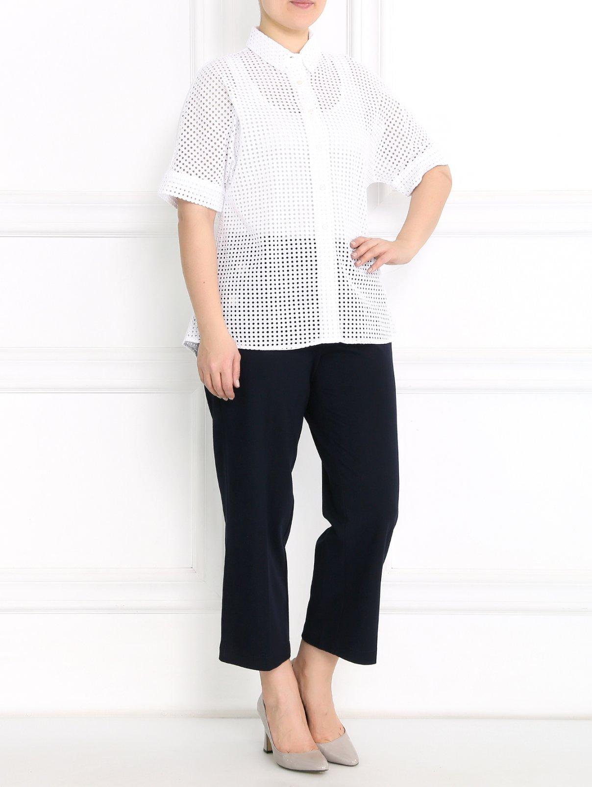 Широкие трикотажные брюки с металлическим декором Marina Sport  –  Модель Общий вид
