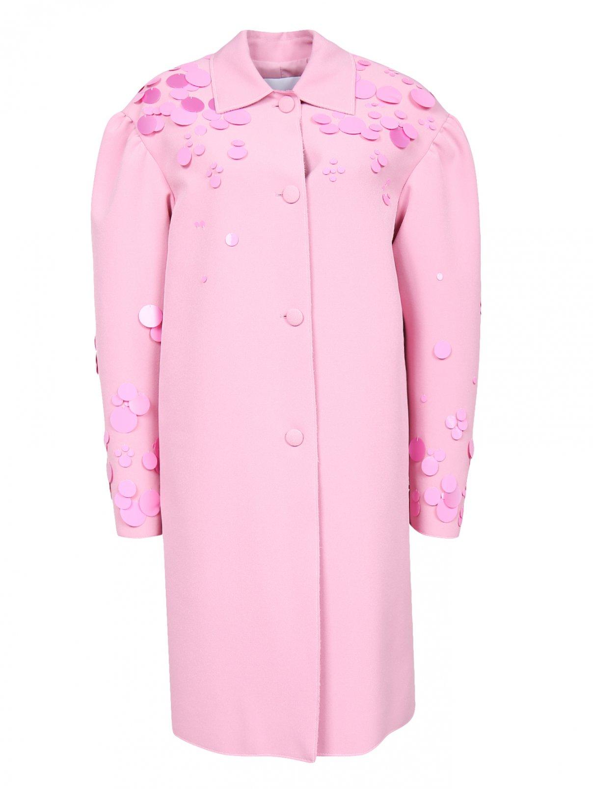 Пальто прямого кроя декорированное пайетками MSGM  –  Общий вид  – Цвет:  Розовый