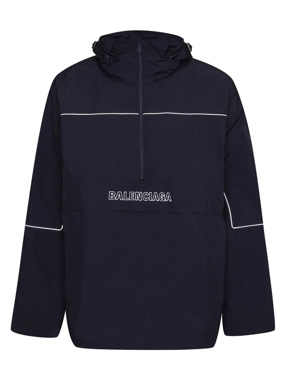 Анорак с вышивкой Balenciaga  –  Общий вид  – Цвет:  Синий