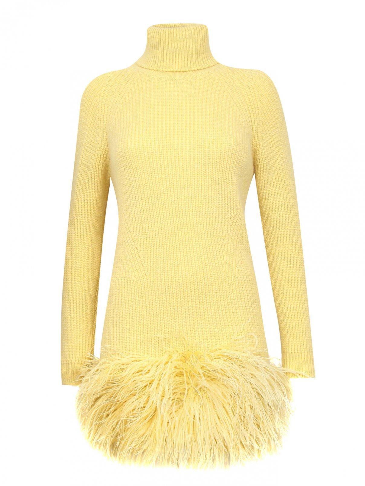 Платье-мини из шерсти декорированное перьями N21  –  Общий вид