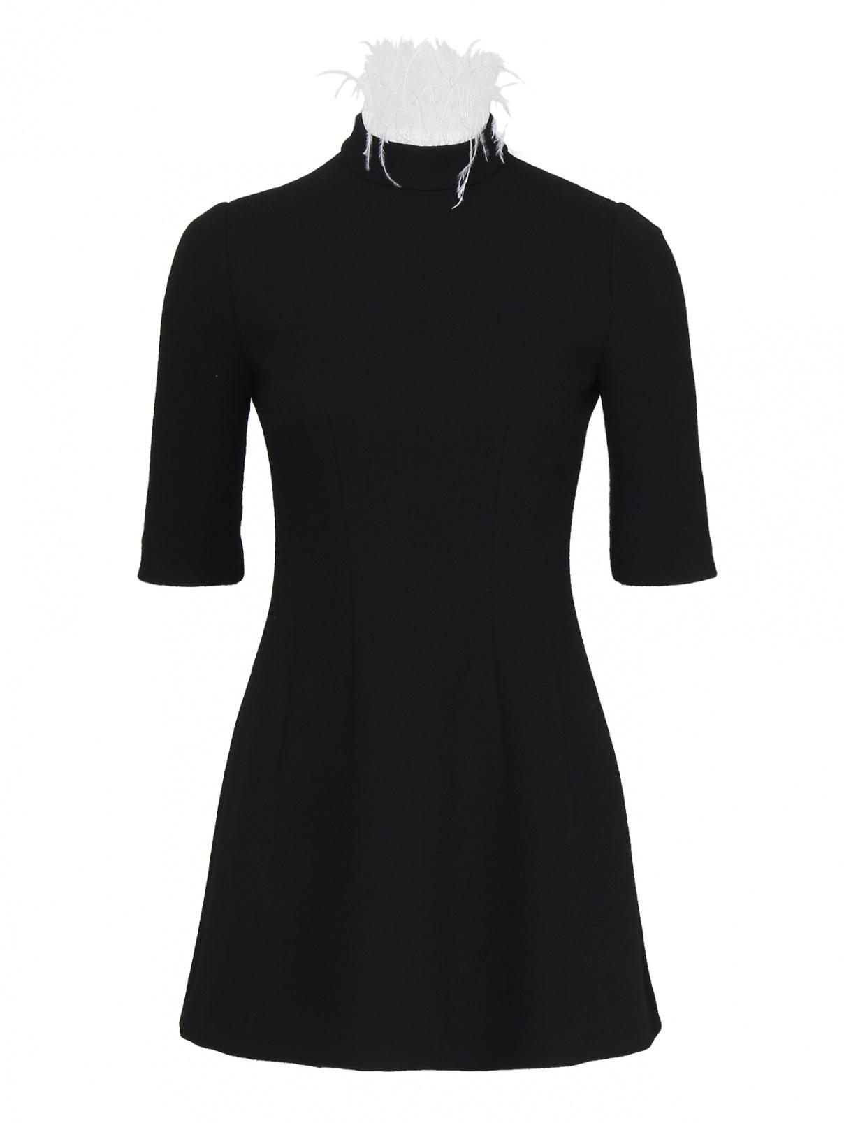 Платье-мини из шерсти декорированное перьями Yanina  –  Общий вид  – Цвет:  Черный