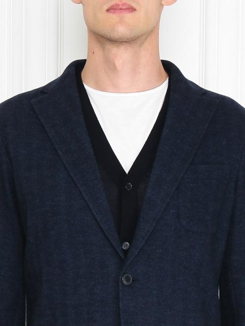 Трикотажный пиджак из смеси хлопка и шерсти  - МодельОбщийВид1