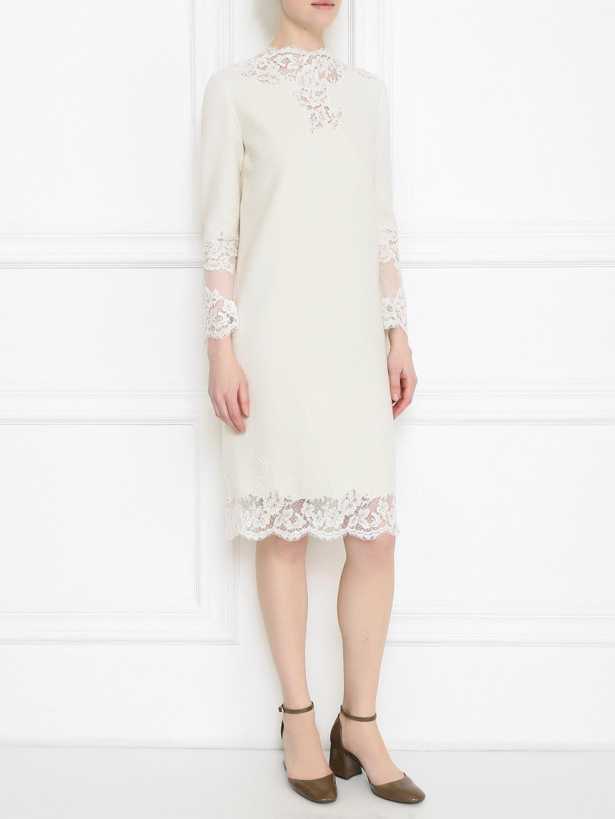 Платье из шерсти, шелка и кашемира с отделкой из кружева Ermanno Scervino  –  Модель Общий вид